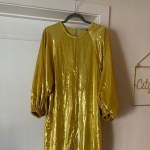 Metallic Velvet Blouson Sleeve Midi Dress